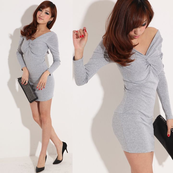 SEXY V NECK LONG SLEEVES SLIM FIT PARTY COCKTAIL DRESS 1526