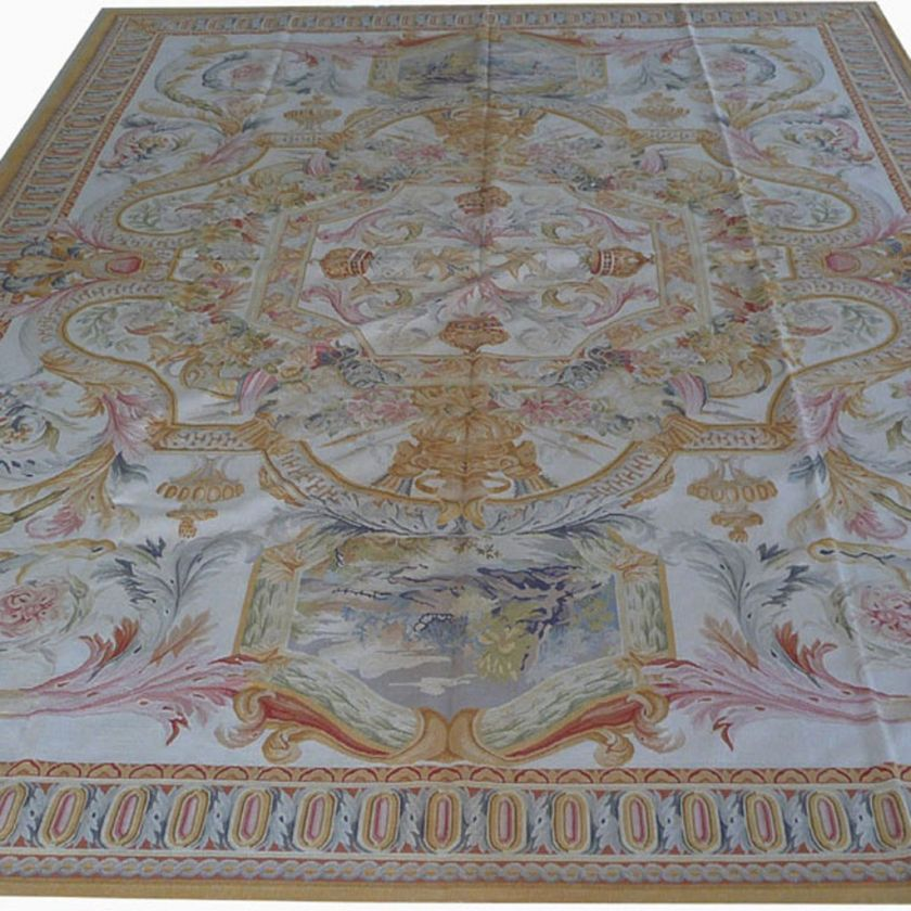 Oversize Hand woven Wool French Aubusson Flat Weave Area Rug~Brand New